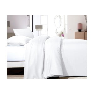 Biele obliečky z mikroperkálu na jednolôžko Sleeptime Satin, 140×200 cm