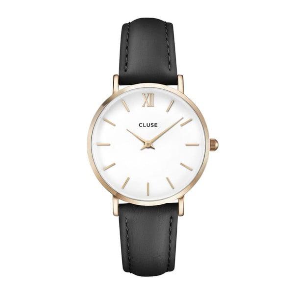 Dámske hodinky s čiernym koženým remienkom a detailmi v zlatej farbe cluse Minuit