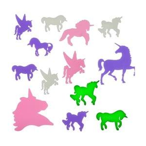 Sada 14 fluorescentných samolepiek InnovaGoods Unicorns