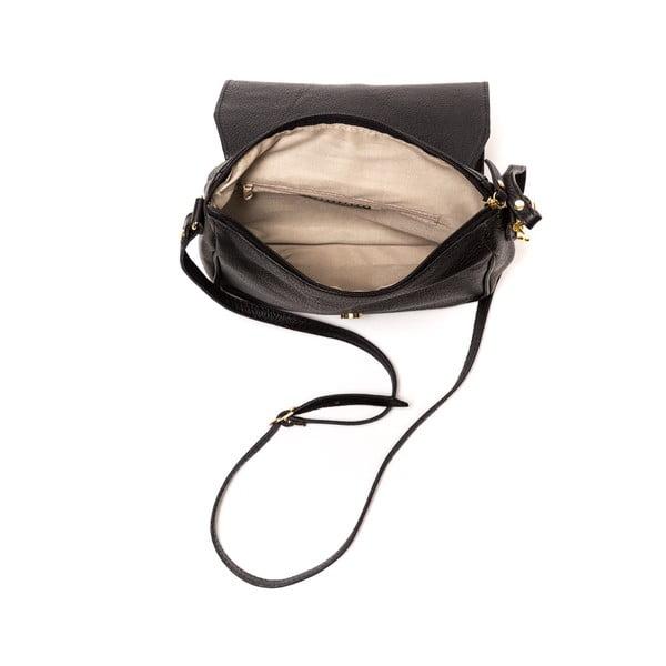 Čierna kožená kabelka Ariela