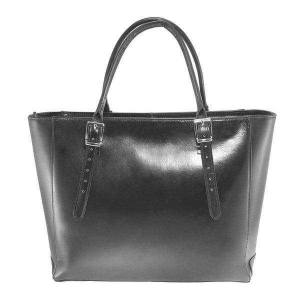 Čierna kožená kabelka Chicca Borse Tami