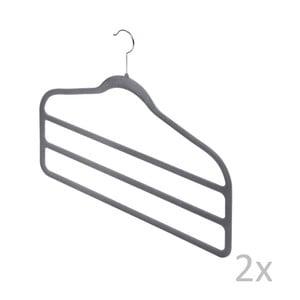 Sada 2 sivých vešiakov na nohavice Bonita Velvet Hangers