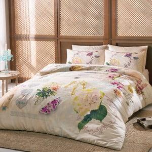 Obliečky z bavlneného saténu s plachtou na dvojlôžko Claire Cream, 200 × 220 cm