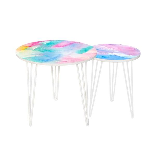 Sada 2 odkladacích stolíkov Colour Splash, 35 cm + 49 cm
