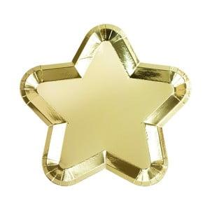 Sada 12 papierových tanierikov v tvare hviezdy zlatej farby Talking Tables Metallics, 23 x 23 cm