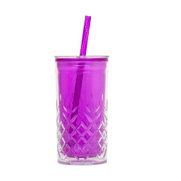 Fialový pohárik so slamkou Aladdin, 470ml