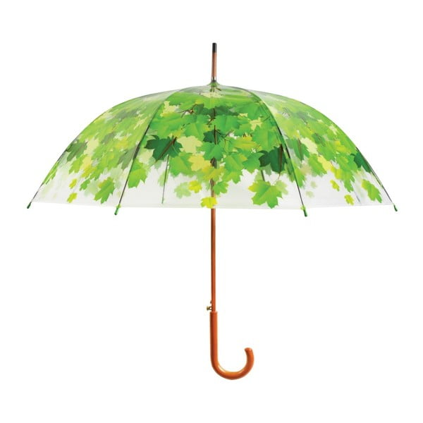 Transparentný dáždnik se zelenými detailmi Birdcage Leaf, ⌀ 92,5 cm