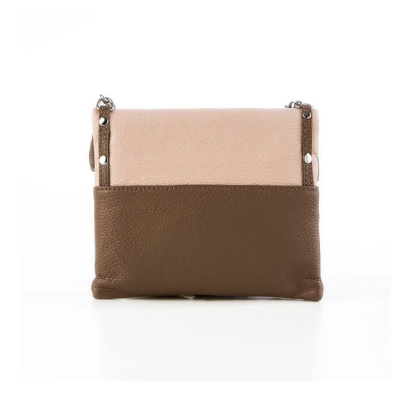 Kožená kabelka Roberto, pudrová/hnedá