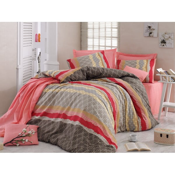 Ružové obliečky s plachtou Love Colors Crimp, 200 x 220 cm