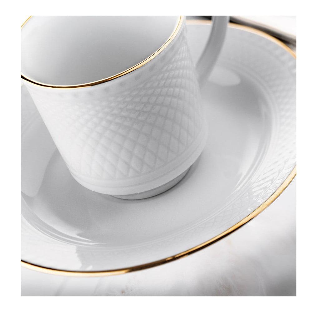 Sada 6 porcelánových hrnčekov s tanierikom Kutahya Gold Line, 80 ml
