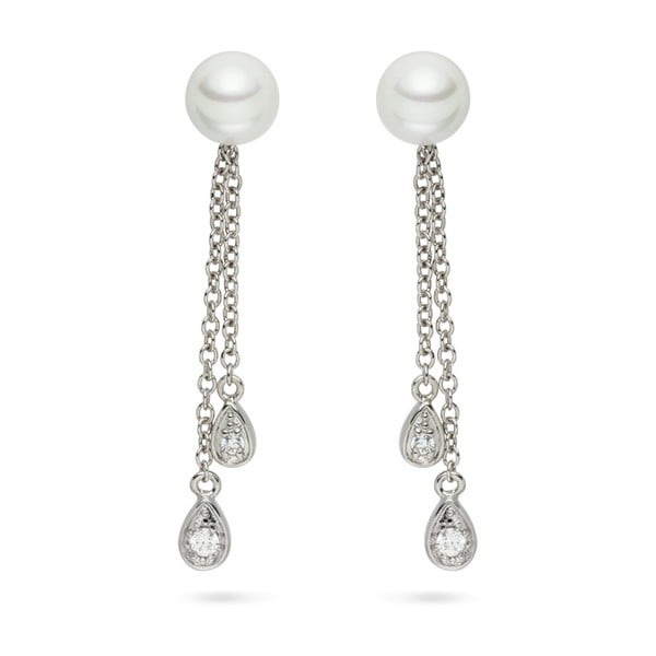 Perlové náušnice Pearls Of London Queen Long