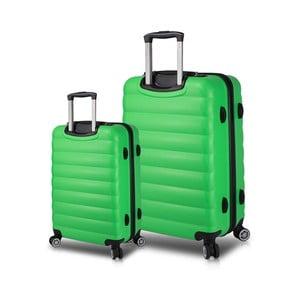 Sada 2 zelených cestovných kufrov na kolieskach s USB porty My Valice RESSNO Cabin & Large