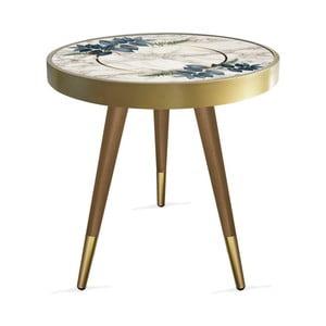 Príručný stolík Rassino Marble Blue Leafes Circle, ⌀ 45 cm