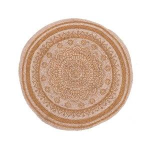 Kruhový koberec z juty a bavlny InArt Brown Mandala, ⌀ 90 cm