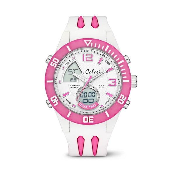 Hodinky Colori Anadigi 48 White Neon Pink