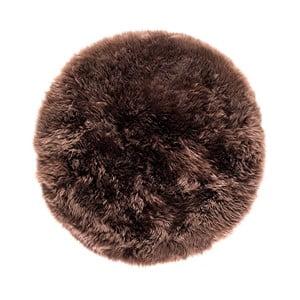Hnedý okrúhly koberec z ovčej vlny Royal Dream Zealand, Ø70cm