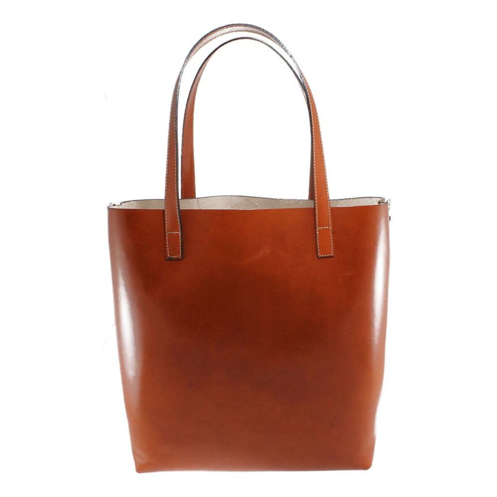 Hnedá kožená taška Chicca Borse Greta 98578e5c67a