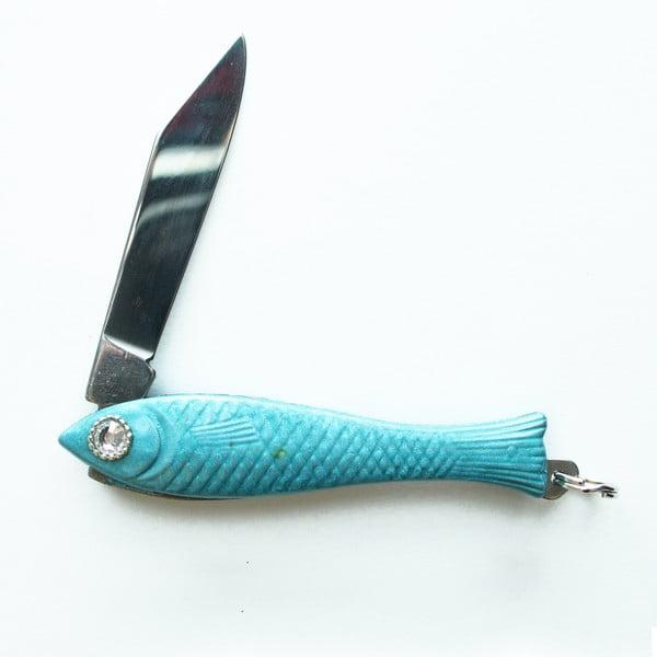 Svetlomodrý český nožík rybička s kryštálom v oku