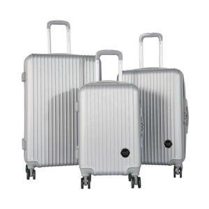 Sada 3 cestovných kufrov na kolieskách v striebornej farbe Travel World Emilia