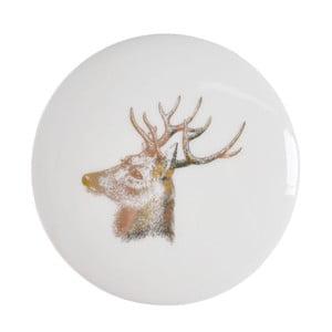 Biela keramická škatuľka na šperky Ewax Deer, ⌀ 8 cm