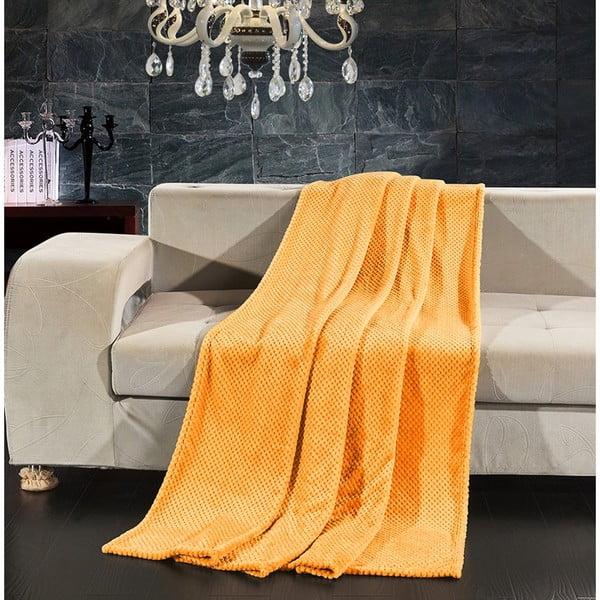 Oranžová deka z mikrovlákna DecoKing Henry, 220×240 cm