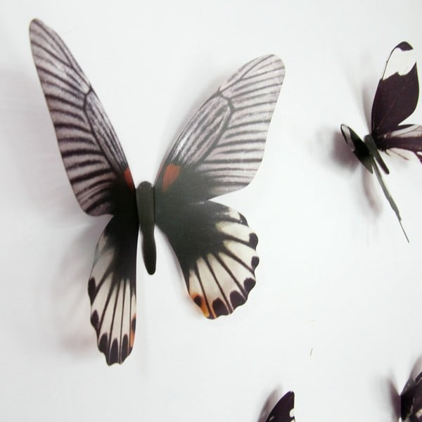 Trojrozmerné samolepky motýlikov Walplus Streak Butterfly Black