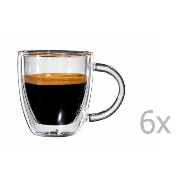 Sada 6 sklenených hrnčekov na espresso s uškom bloomix Verona