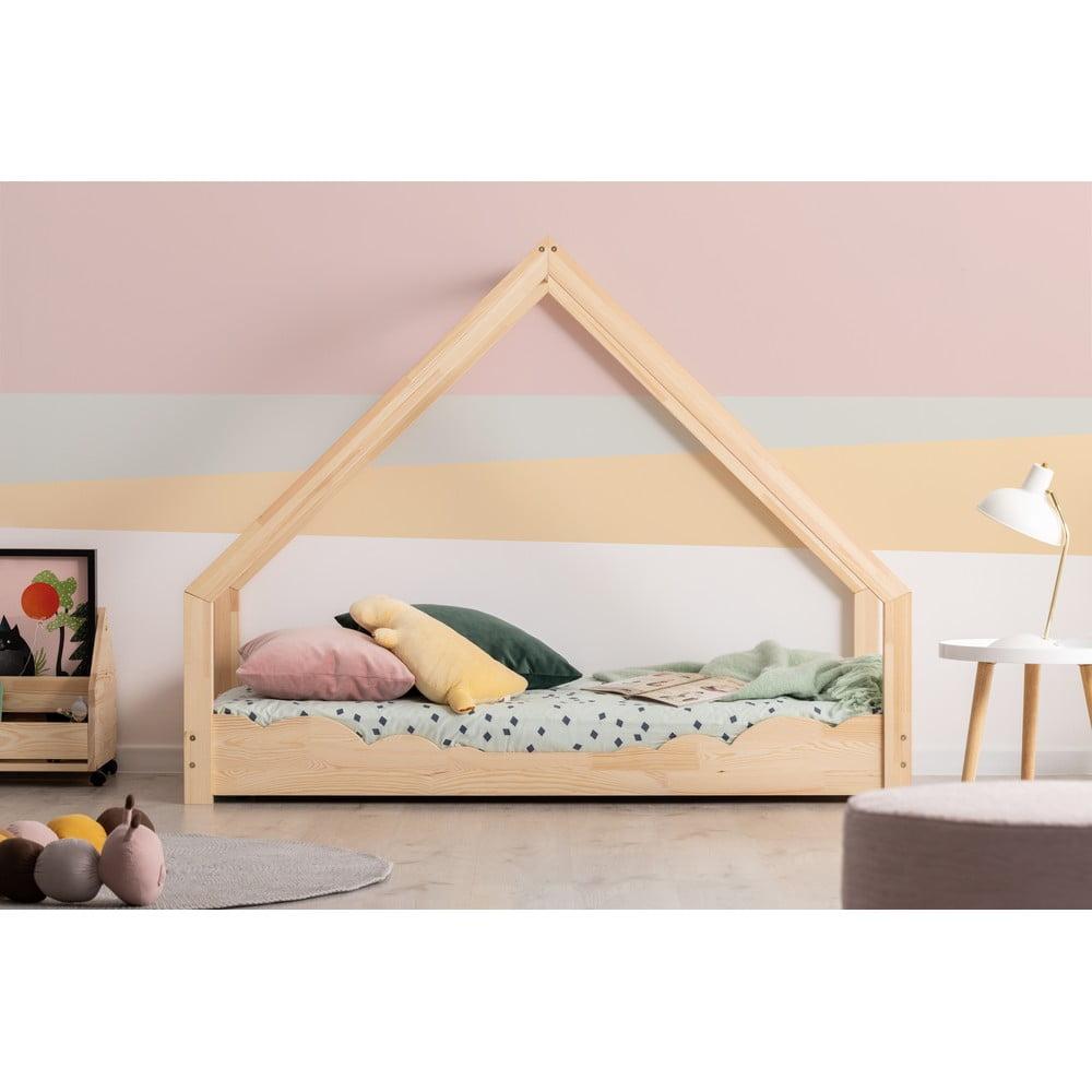 Domčeková detská posteľ z borovicového dreva Adeko Loca Dork, 70 x 180 cm
