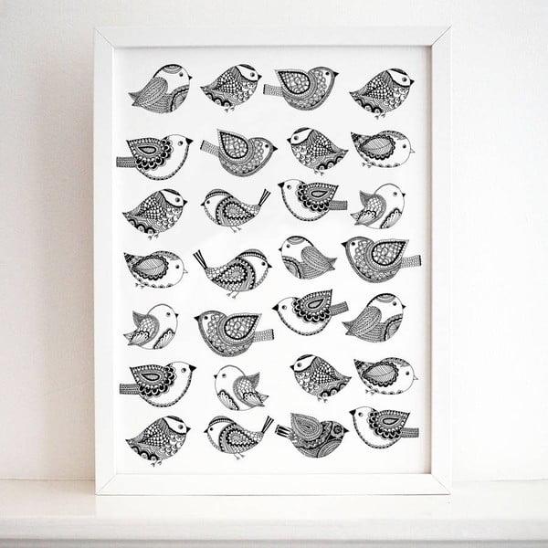 Plagát Bird Pattern, 30x40 cm