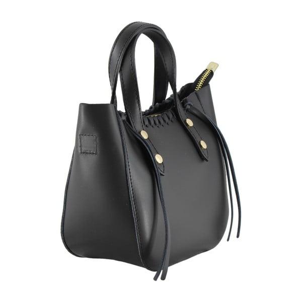 Čierna kožená kabelka Anna