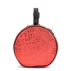 Červená kožená listová kabelka Mangotti Bags Aura