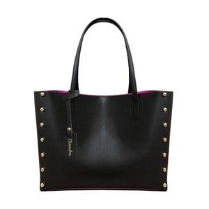Čierna kožená kabelka s fuksiovým vnútrom Maison Bag Missy