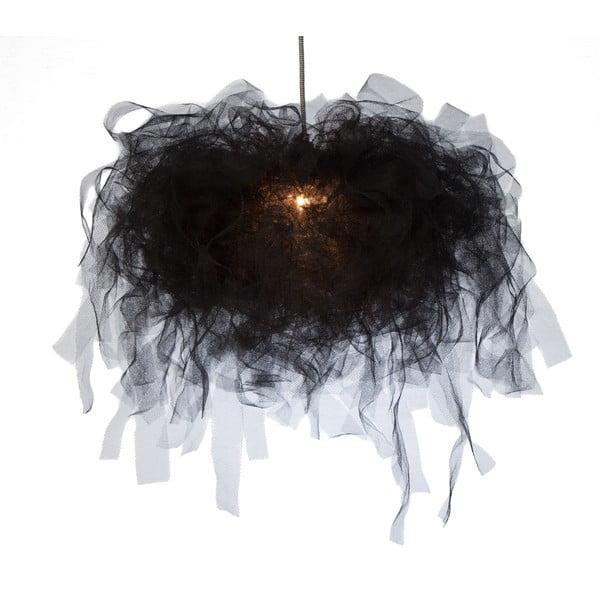 Stropné svetlo Ellen Munter vel. M, čierne s čiernym káblom