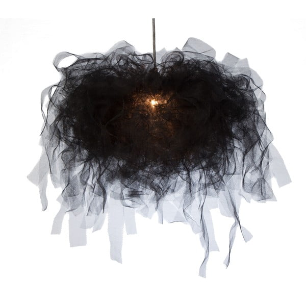 Stropné svetlo Ellen Munter vel. S, čierne s čiernym káblom