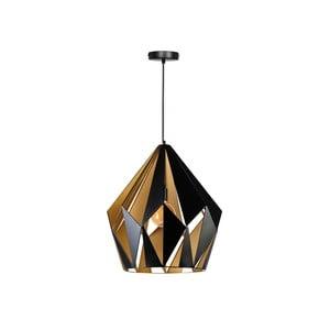 Závesné svietidlo v zlatej a čiernej farbe ETH Rhomb