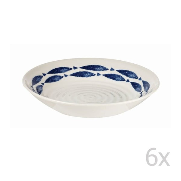 Sada 6 ks hlbokých tanierov Fishie White, 20 cm