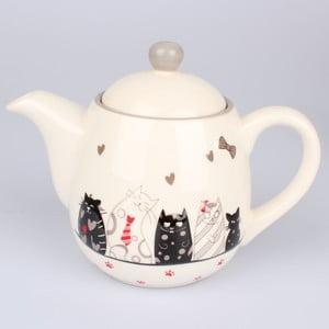Keramická kanvica na čaj Dakls Cats, 1 l