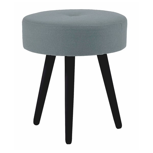 Sivá okrúhla dubová stolička s čiernymi nohami Folke Hermod