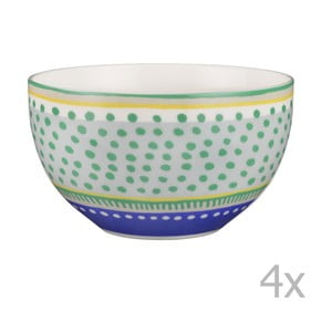 Sada 4 porcelánových misiek s bodkami Oilily 15 cm, zelená