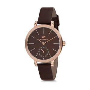Dámske hodinky s čiernym koženým remienkom Bigotti Milano Livia