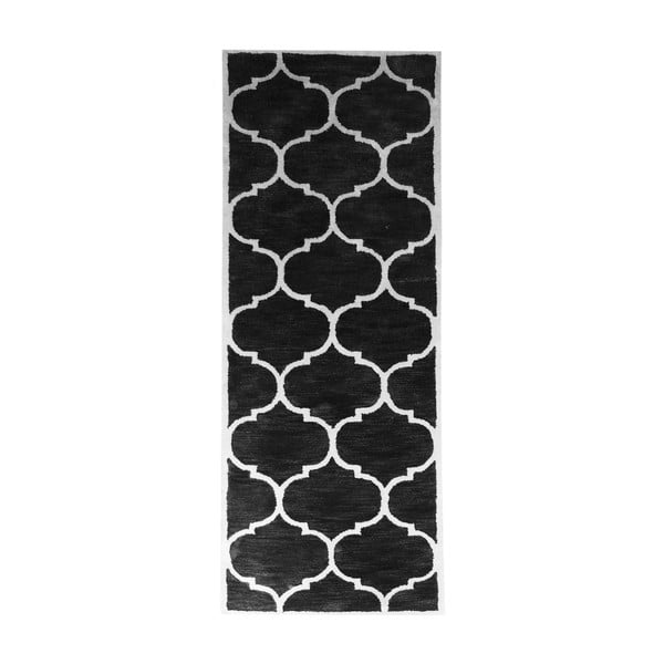 Vlnený koberec Florida, 78x244 cm, čierny