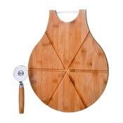 Set bambusovej doštičky a krájača na pizzu Unimasa Cutter