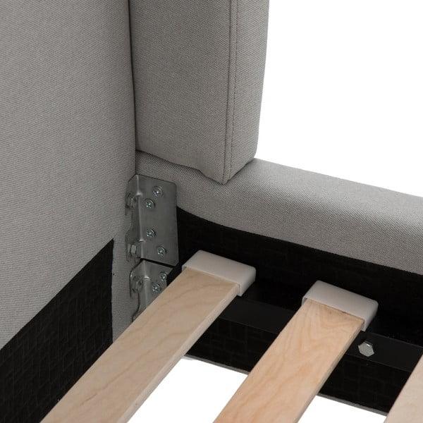 Svetlosivá posteľ VIVONITA Windsor 140x200cm, čierne nohy