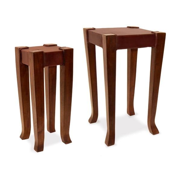 Sada 2 kožených stolíkov Moycor Auxiliary
