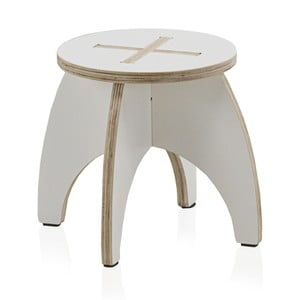 Biela detská stolička z preglejky Geese, ⌀ 30 cm