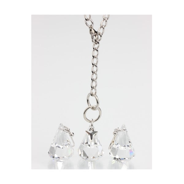 Set náušníc a náhrdelníku Laura Bruni Drops Clear
