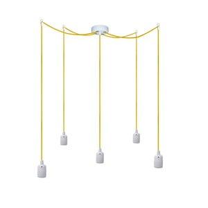 Päť závesných káblov Uno, žltá/biela