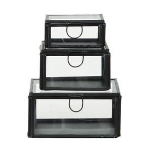Set 3 sklenených boxov Brass Black
