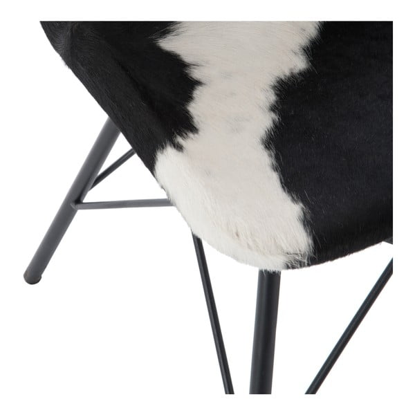 Stolička s koženým poťahom Cross, čierno-biela