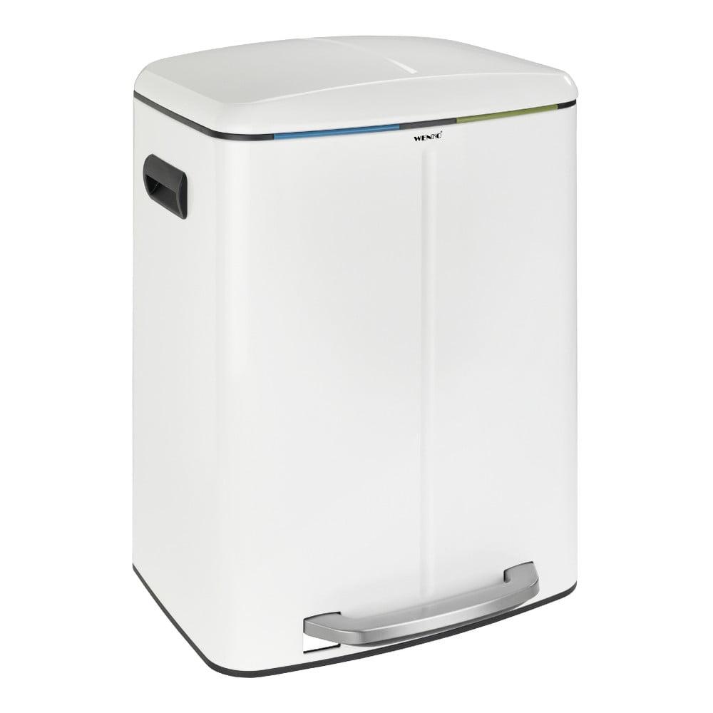 Dvojitý biely pedálový odpadkový kôš Wenko, 2 × 20 l